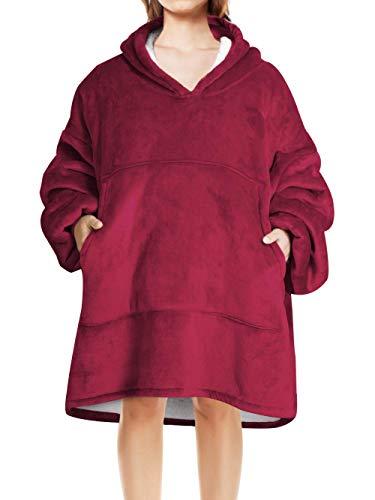 LIVACASA Pull Couverture Unisexe Chaud Doux avec Grand Poche Sweat à Capuche Hiver Robe de Chambre Pull Plaid Huggle Hoodie Cadeaux de Noël en Camping pour Devant La Télé Rouge foncé
