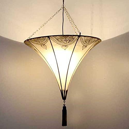 Lámpara de techo oriental Sultan, natural, color blanco, 50 x 90 cm grande (diámetro x altura), lámpara de cuero, lámpara colgante sobre la mesa, pantalla de piel auténtica estructura de metal 210216