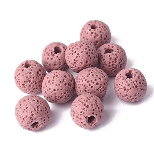 Piedra de lava de volcán natural redonda de 6 mm, 8 mm, 10 mm, 12 mm, 14 mm, 16 mm, lote de cuentas sueltas para joyas, pulseras de bricolaje, rosa, 16 mm, 10 unidades