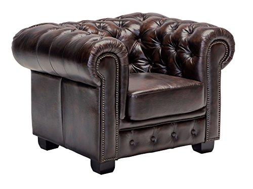 Woodkings® Chesterfield Sessel antik Echtleder Bürosessel Polstermöbel Designsessel Federkern Unikat Herrenzimmer englisches Leder Stilsessel (antik braun)