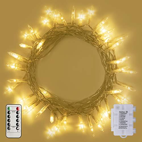 ALOICI LED Lichterkette 2Stk 50LED Lichterketten Dimmbar LED String Licht mit Timer & Fernsteuerung 8 Modi Wasserdicht Lichterkettenvorhang Weihnachtsbeleuchtung,Weihnachtsdeko Christmas INNEN