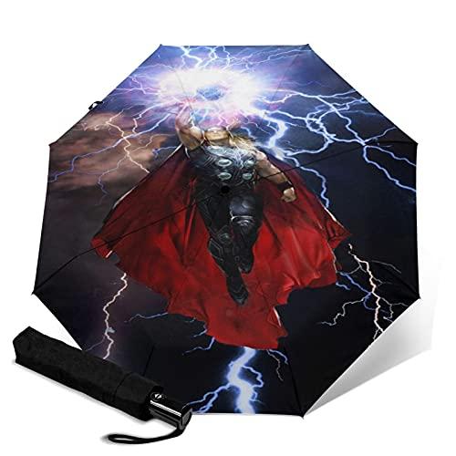 Thor Paraguas automático de tres pliegues impermeable y protector solar, resistente y duradero, puede abrir y cerrar automáticamente protección UV paraguas de viaje plegable