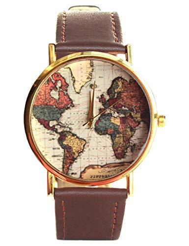 Orologio unisex con movimento al quarzo, motivo: mappa del mondo vintage