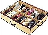 SHONPY Ladies/Kids Storage Household Shoe Bag 12 Cells Underbed Foldable Closet Organizer (Beige) (beige)