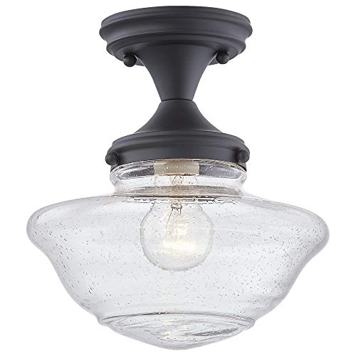 Design House 587444 Schoolhouse Modern Industrial Farmhouse Indoor Dimmable Ceiling Light with Clear Seedy Glass for Kitchen Hallway Bedroom, Matte Black