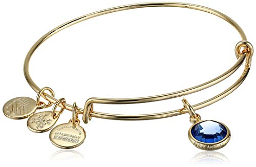Alex and Ani Birthstones Expandable Bangle for Women, Sapphire Crystal Charm for September, Shiny Gold Finish, 2 to 3.5 in