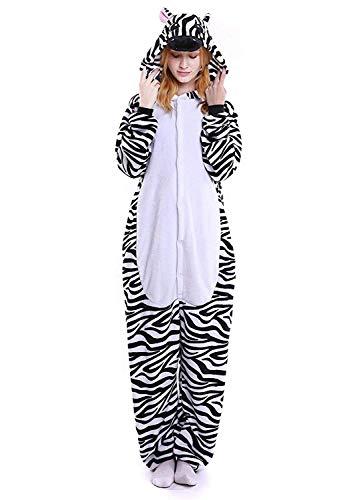 ABYED® Kostüm Jumpsuit Onesie Tier Fasching Karneval Halloween kostüm Erwachsene Unisex Cosplay Schlafanzug- Größe L-für Höhe 164-174CM, Zebra