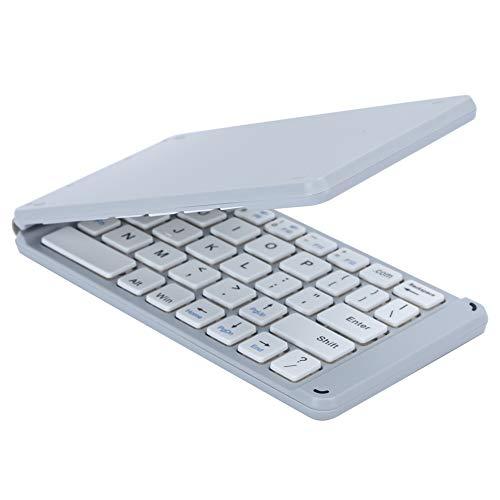 Tastiera Bluetooth3.0 pieghevole, tastiera ricaricabile wireless ultra sottile portatile pieghevole per computer laptop IOS/Android/Windows Phone(white)