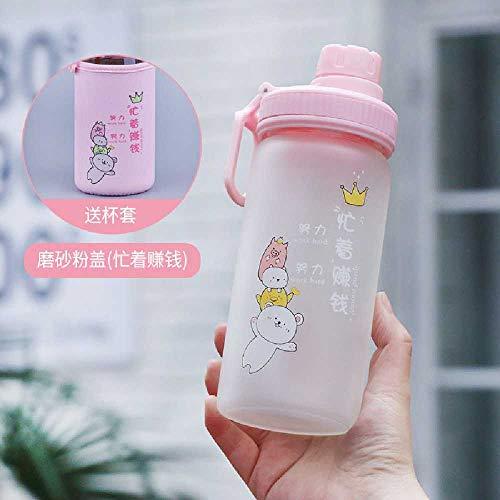 wangwei Neue Cartoon Stroh Trinkbecher Nach Hause Einfache Netto Rote Milch Teetasse Studentin Niedliche Einschichtige Glas 480 ml/Frosted Pink + Cup Cover