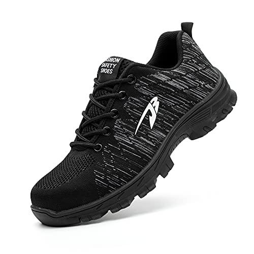 DRECAGE Sicherheitsschuhe Arbeitsschuhe mit Stahlkappe Atmungsaktiv Leicht für Herren und Damen Trekking Schutzschuhe Outdoor Sneaker 43 EU