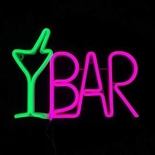 LEDバーサインネオンライト ビジネス用 リモコン8モード(フラッシュ) ライトアップビールの看板 LED BAR電気広告ボード USBプラグ 37x26x2cm ウォールアートの装飾 ビストロ,IZAKAYA,キャバクラ,店舗,クラブ,パブ,娯楽場所,飲食店,雑貨 グリーン カクテルグラス+ピンクレターバー(BARGP8M)