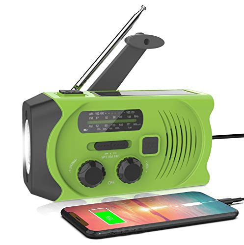 Latest Emergency Solar Hand Crank Portable Radio, NOAA Solar Hand Crank Portable Radio with M/FM, LED Flashlight, Reading Lamp, 2000mAh USB Power Bank