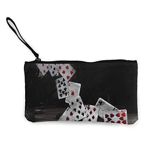 Yuanmeiju Unisex Abstraktes Kartenschloss Poker Reißverschluss Leinwand Geldbörse Geldbörse, Schminktasche, Handytasche mit Griff