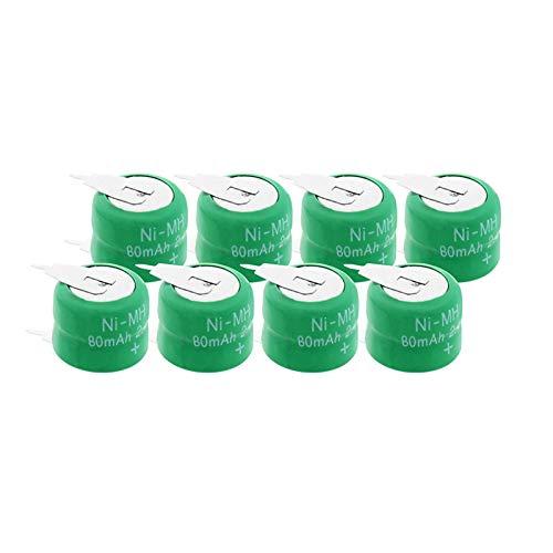 hsvgjsfa BateríAs De 2.4v 80mah 80H Ni-Mh, Batería De Botón Recargable Conveniente para El Audio para El AutomóVil 8Pieces