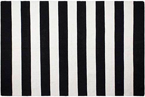 Fabhabitat Tapis intérieur extérieur Nantucket Noir et Blanc 90 x 60 cm