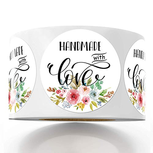 Floral Handmade with Love Stickers, 1.4 Inches Round Total 500 Adhesive Labels Per Roll (1 Roll), Handmade Packaging, Homemade with Love Stickers, Baked with Love Stickers Mr.Mug