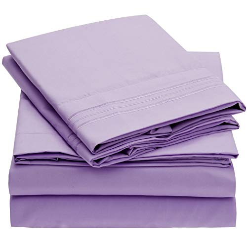 Mellanni Bed Sheet Set - Brushed Microfiber 1800 Bedding - Wrinkle, Fade, Stain Resistant - Hypoallergenic - 4 Piece (Queen, Violet)