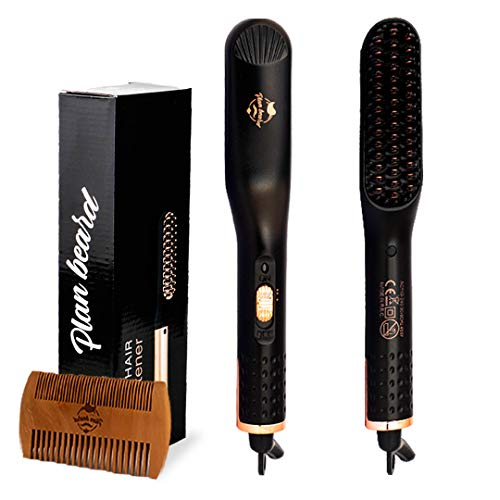 Beard Straightener and Hair Straightener Brush  Multifunctional Electric Beard Comb and Heated Beard Brush with Dual Voltage 110240V for All Hair Types Great for Travel
