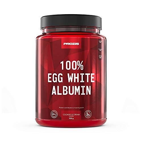 Prozis 100% Egg White, Albumin 900 g Biscotto e Crema, 100% Ovoalbumina, Albumi Pastorizzati, Altamente Proteici