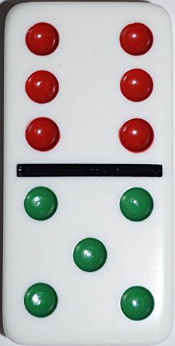 Double 6 Jumbo Dominoes  White With Color Dots