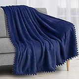 PAVILIA Pom Pom Blanket Throw, Royal Blue | Soft Fleece Pompom Fringe Blanket for Couch Bed Sofa | Decorative Cozy Plush Warm Flannel Velvet Tassel Throw Blanket, 50x60