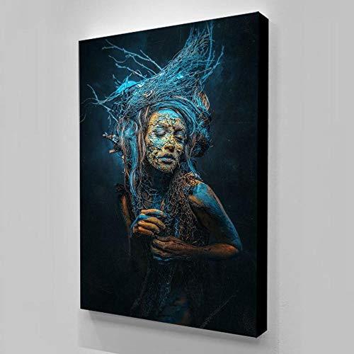 ZDFDC Sexy Dryade Hexe Leinwanddruck Gemälde Poster und Drucke Wandkunst Bild für Wohnzimmer Toile Wanddekoration-60x85cmx1 ohne Rahmen