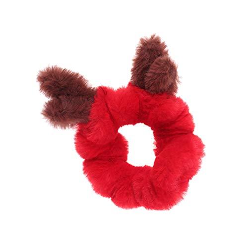Minkissy Christmas Hair Rope Elk Hair Scrunchies Elastic Hair Bands Plush Antler Hair Ties Ropes Ponytail Holders Xmas Hair Accessories for Women
