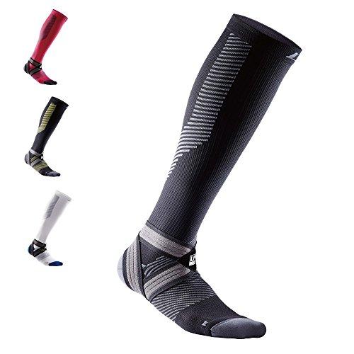 LP SUPPORT 204 Z EmbioZ Kompressions-Socken, [1 Paar] Unisex Kompressionsstrümpfe für Herren und Damen, für Reisen, Flug, Sport, Laufen, Jogging, Fußball, Handball, Größe:L, Farbe:schwarz