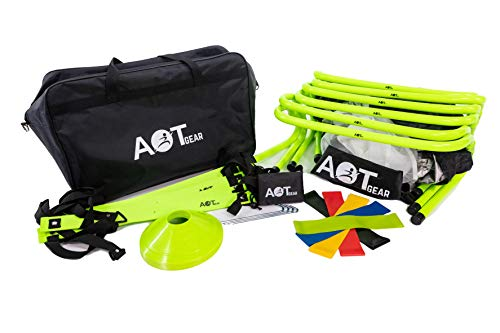 AOT Gear Speed and Agility Training Equipment - Agility Ladder, Soccer Cones, Running Parachute, Agility Hurdles Speed Training -Football Ladder Training Equipment Set - Agility Training Set
