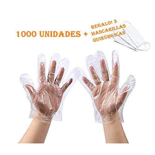 Guantes Plástico Desechables Transparente C/Protección contra Virus y Bactérias, Guantes de Usar y Tirar para Hogar, Oficina y Comercio (1000, 14 x 27 cm)