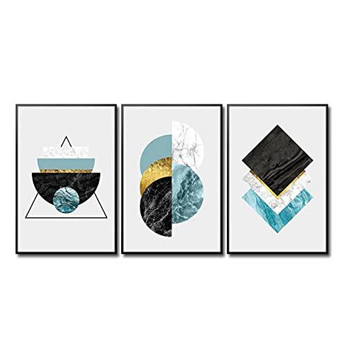 Mwypec decoración nórdica abstracta simplicidad geométrica azul pared arte lienzo pintura carteles decoración lienzo arte pared cuadros