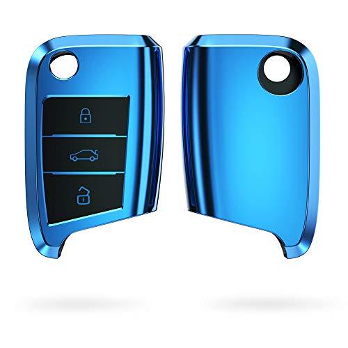 kwmobile Funda para Mando Compatible con VW Golf 7 MK7 Llave de Coche de 3 Botones - Funda TPU Llave con Botones de Llave de Auto - Azul Brillante