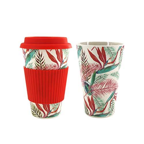 Select Zone 300 – 450 ml, portátil, reutilizable, fibra de bambú, taza de café, taza de agua respetuosa con el medio ambiente (color: rojo)