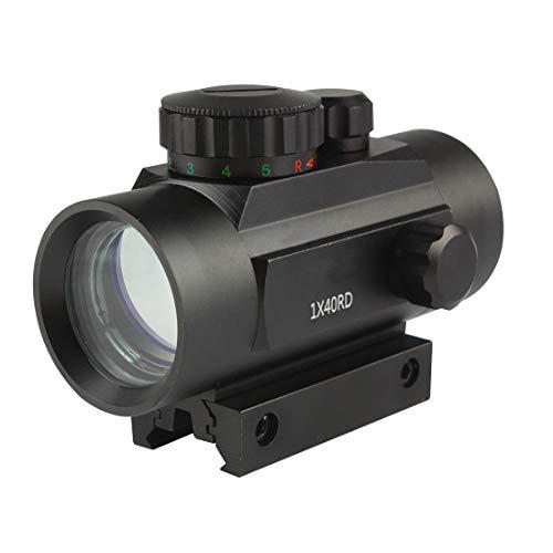 Ran's L Rot Grün Dot Sight Visier Airsoft Scope Leuchtpunktvisier 9-25mm Picatinny Schiene, 5 Helligkeitsstufen 1x40 für Jagd Softair Pistole und Armbrust CJ/MZJ-04