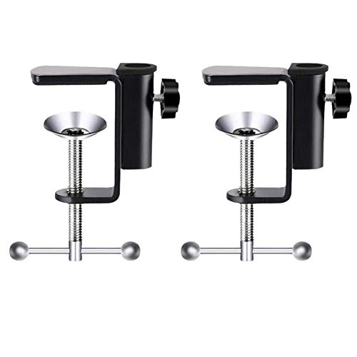 luluxing 2Pcs Microphone Desktop Clip Adjustable Stand Desktop Microphone Clip Cantilever Stand Base Microphone Accessories Microphone Arm Stand C Shape Desk Table Mounting Clamp For Microphone