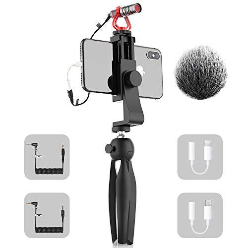SAMTIAN Kamera Mikrofon Mobiles Mikrofone Video Camera Microphone Kit mit Stosdampferhalterung Mini Stativ fur Kamera Canon Nikon Sony Handy fur Vlogging YouTube Tik Tok