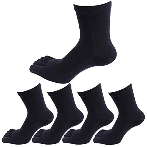 Panegy - 5 Paires de Chaussettes Cinq Doigts De Pieds Pour Homme en Coton Confortable et Respiration - Chaussettes à Motif - Uni - Noir,Taille unique