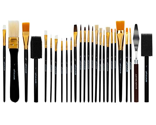 Artiscapade 26 Pieces Paint Brush Set for Acrylic, Watercolour, and Oil, Includes Zippered Portable/Travel Case, Cleaning Sponge, and Palette Knife, For Adults and Kids, Non-slip Wooden Handles