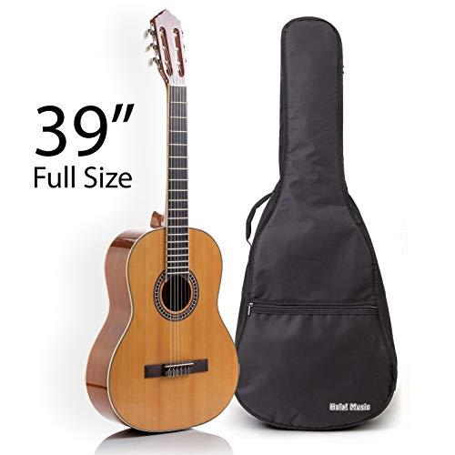 Classical Guitar with Soft Nylon Strings by Hola! Music, Full Size 39 Inch Model HG-39GLS, Natural Gloss Finish -...