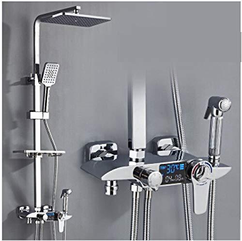 WHUPLK Juego de Ducha,Juego de Ducha Cromado Mezclador termostático de Ducha Cuerpo de Grifo de latón Boquilla de Grifo de fundición de Cobre, 2