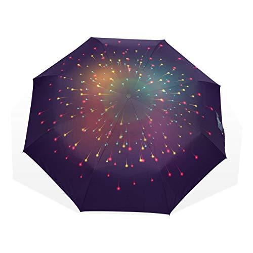 Paraguas para Mujeres, niños, Hombres, 3 Pliegues, antiUV, Resistente al Viento, Ligero, portátil, pequeño sombrilla de Viaje, Regalo de Noche y Fuegos Artificiales