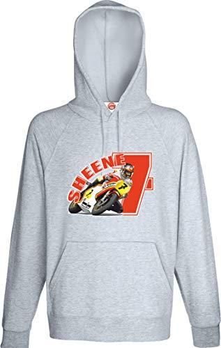 Grand Prix Biker Moto GP Retro Racing Barry Sheene Red No. 7 Sweat à capuche homme - Gris - Medium