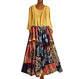 LOPILY 2 St. Sommerkleid Damen Große Größen Hippie Druckkleid Maxikleid mit Leinen Top Oberteil Langarm Freizeit Kleid Lose Atmungsaktives Kleid Umstandkleid Übergrößen (Gelb, DE-46/CN-3XL)