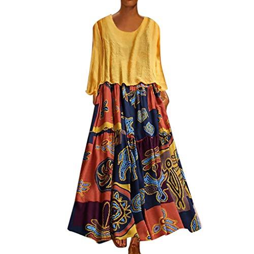 LOPILY 2 St. Sommerkleid Damen Große Größen Hippie Druckkleid Maxikleid mit Leinen Top Oberteil Langarm Freizeit Kleid Lose Atmungsaktives Kleid Umstandkleid Übergrößen (Gelb, DE-42/CN-XL)