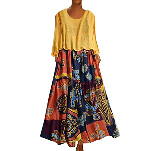 LOPILY 2 St. Sommerkleid Damen Große Größen Hippie Druckkleid Maxikleid mit Leinen Top Oberteil Langarm Freizeit Kleid Lose Atmungsaktives Kleid Umstandkleid Übergrößen (Gelb, DE-48/CN-4XL)