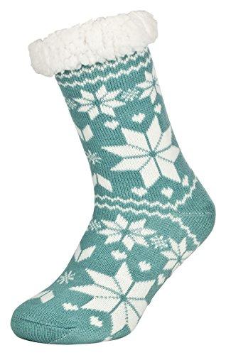 Tobeni 1 Paar Damen Hüttensocken ABS Socken Kuschelsocken mit Anti-Rutsch Noppen Sohle Grösse One Size Farbe Eiskristall Mint