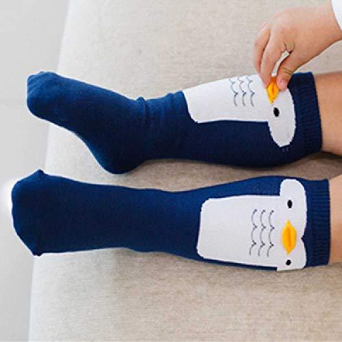 ZHANGNUO Algodón Suave Lindo Niña Linda Niña Niño Pato Pato Diseño Pingüino Patrón De Dibujos Animados Calcetines para Niños Calcetines Largos para Bebés 4-6T /Azul