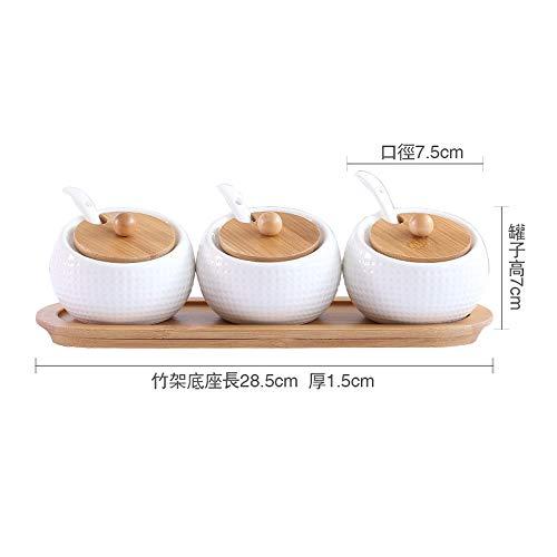 SGAN Bottiglia di condimento Scatola di condimento Shaker di Sale Ciotola di Zucchero Completo da Cucina in Tre Pezzi Forniture per la casa,A1