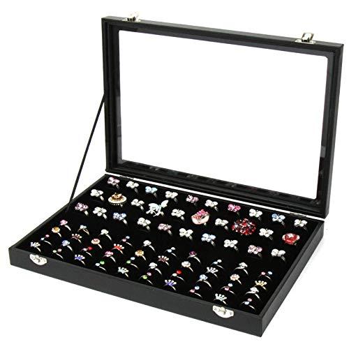 Tapa de Vidrio 100 Anillos Caja de Almacenamiento de exhibición de Joyas Bandeja Organizador de Caja-Organizador de Caja de Polvo de exhibición de mostrador Negro