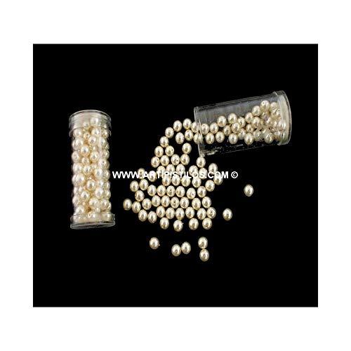 Artipistilos® glazen kralen 6 mm. - 6 mm diameter, ivoor – kralen en stenen in buizen en doosjes.
